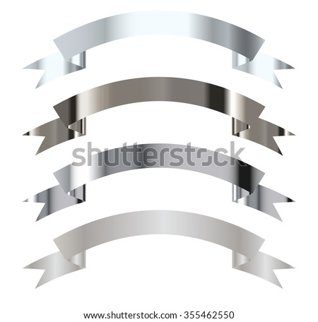 Collection of Metallic gradient silver ribbon - stock vector
