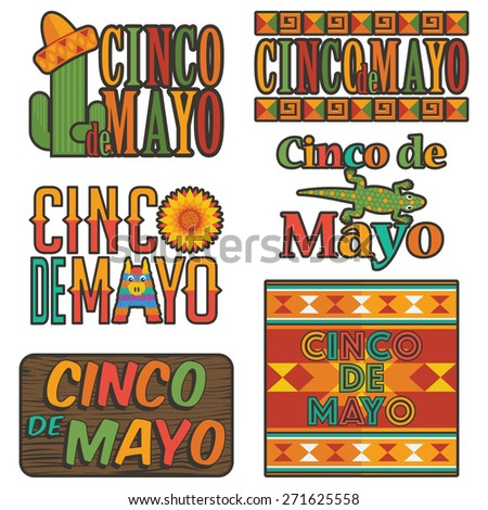 collection of mexican cinco de mayo badge decorations, isolated on white - stock vector