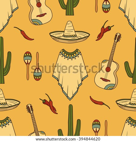 Collection of mexican symbols hand drawn seamless pattern. Colorful backdrop design. Background with mexico icon and culture icon set vector. Decorative wallpaper, good for printing