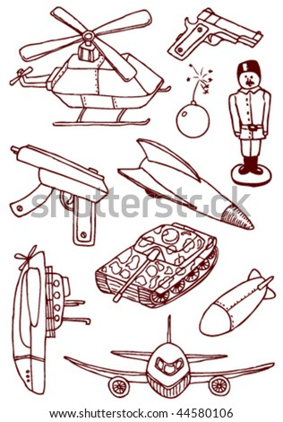 Collection of military doodles - stock vector