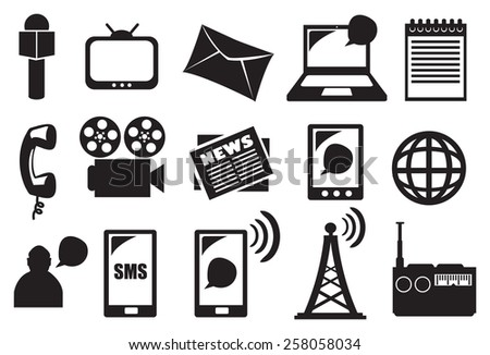 Collection of minimalist black and white vector icon set of tools and equipment for different mode of media and communication. - stock vector
