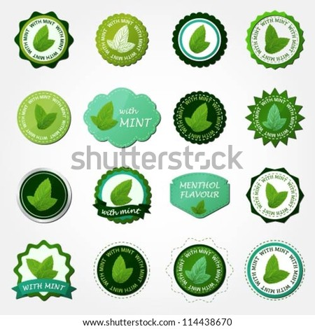 Collection of mint labels - stock vector