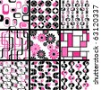 Collection of mod seamless patterns in pink and black(Eps10); jpg version also available - stock photo