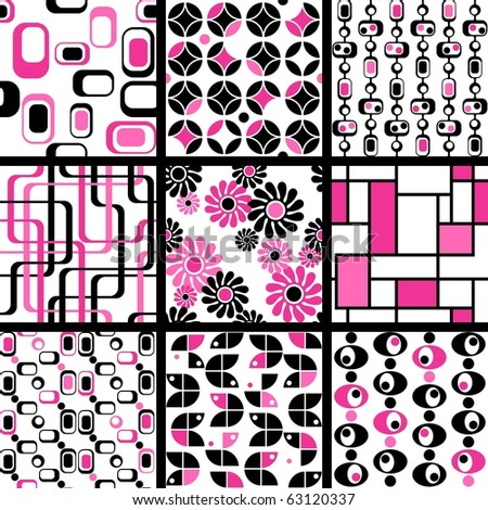 Collection of mod seamless patterns in pink and black(Eps10); jpg version also available - stock vector