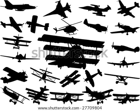 Collection of model air planes - stock vector