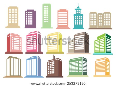 Collection of modern city buildings and skyscrapers vector icons isolated on white background - stock vector