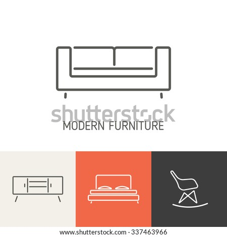 modern furniture collection. Collection Of Modern Furniture Icons For Design. Business Cover, Invitations, Brochure, Signs