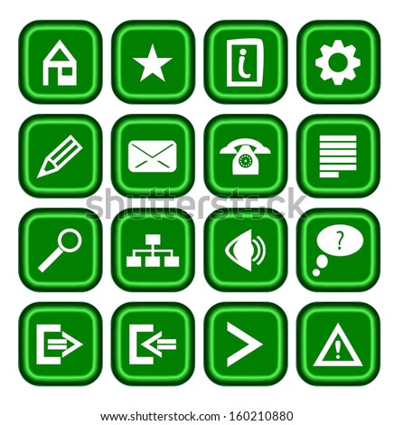 collection of modern green icons