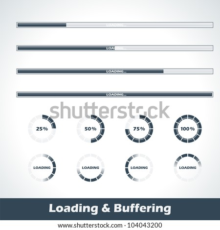 Collection of modern loading and buffering design elements and progress loading bars - stock vector