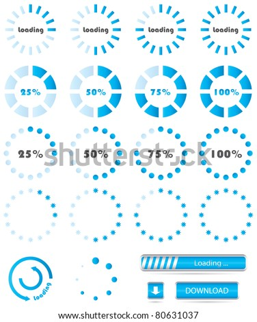 Collection of modern preloaders - stock vector