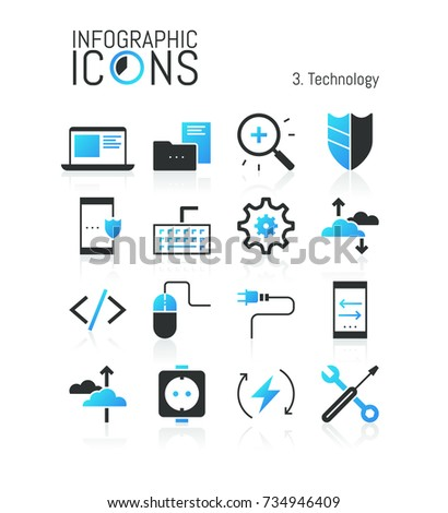 Collection Of Modern Technology Icons: Cloud Computing Services, Protection  Of Information, Electricity,