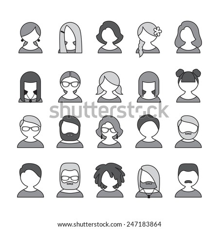 Collection of 20 monochrome user icons for people of different sex, age and appearance for avatars in social networks, and communication interface - stock vector