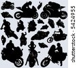collection of motorcycle and rider vector - stock photo