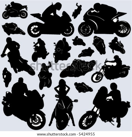 collection of motorcycle and rider vector - stock vector