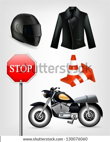 Collection of motorcycle objects including helmet, jacket, traffic cones, stop sign and motorbike - stock vector