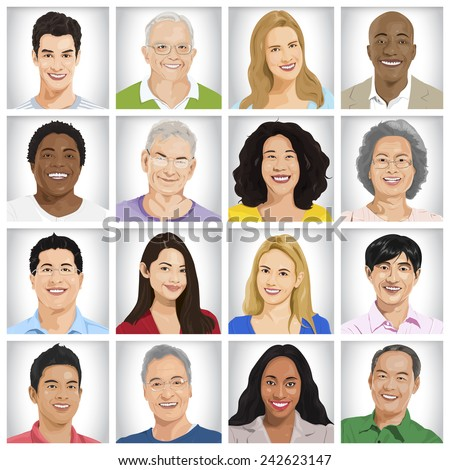 Collection of Multi-ethnic people vector