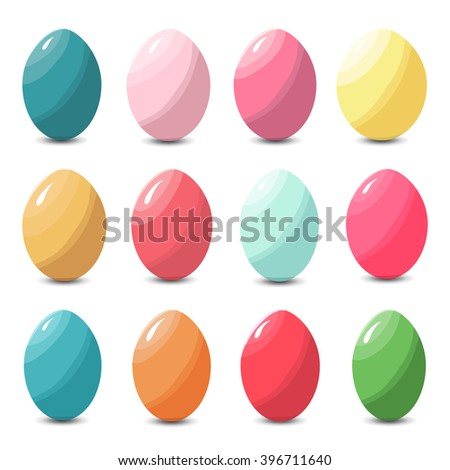 Collection of multicolored colorful easter eggs, vector illustration - stock vector