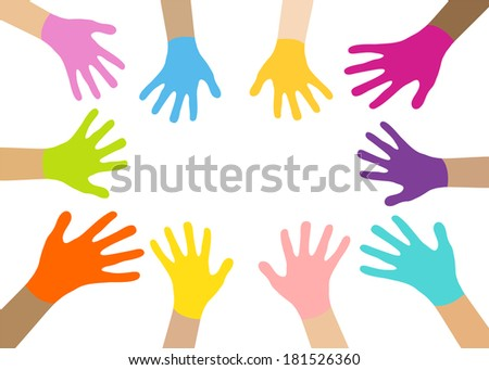 Collection of multicolored hands isolated in white. Vector EPS8.