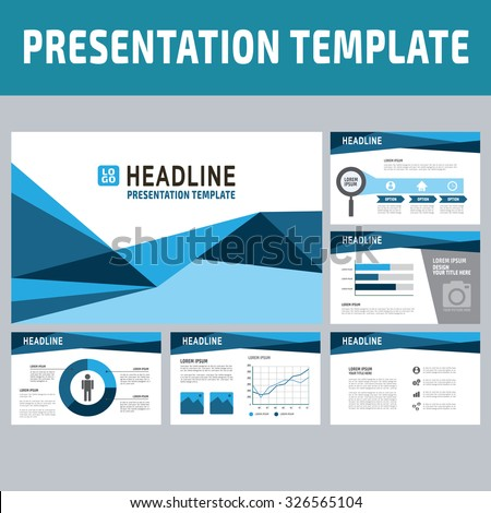 collection of multipurpose presentation template.icons Infographic element.company advert marketing concept.abstract blue polygon flyer layoutbrochure modern style.flat leaflet illustration. - stock vector