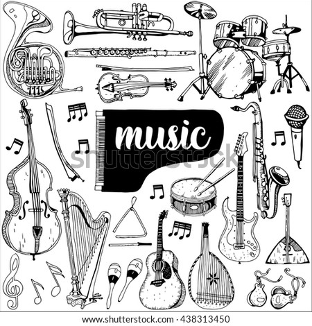 Collection of Music Instruments. Hand drawn illustration in doodle style.