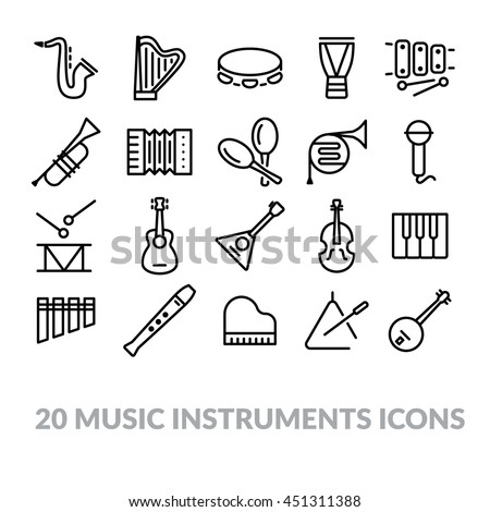 collection of music instruments icons
