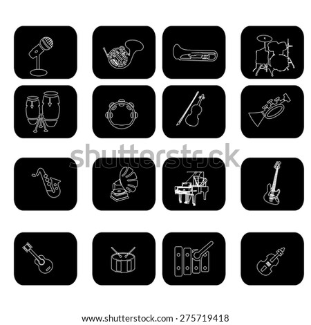 collection of musical instruments - stock vector