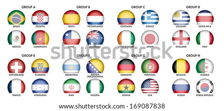 Collection of National Flags - Groups of Football Teams - stock vector
