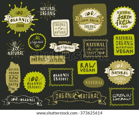 Collection of natural organic food labels on dark background. Fresh healthy food icons. Set of vintage badges for restaurant menu, shop design or food package in hipster style in vector - stock vector