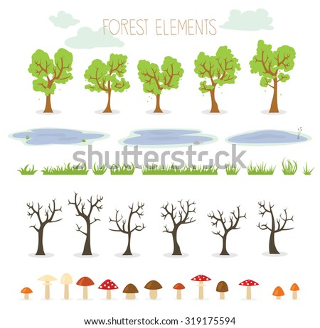 Collection of nature illustrations including trees, puddles, mushrooms and grass - stock vector