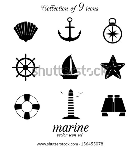 Collection of 9 nautical and marine icons. VECTOR illustration. - stock vector