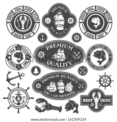 Collection of nautical labels, seafood illustrations and designed elements - stock vector