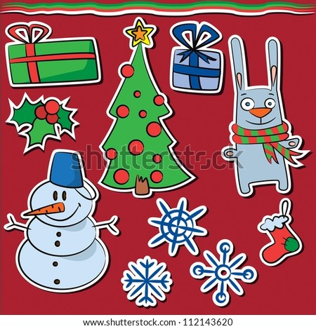 Collection of new year and christmas stickers - stock vector