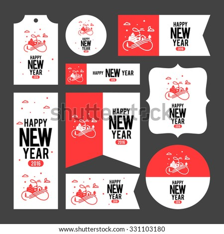Collection of new year 2016 cards, notes, stickers, labels, tags with cute ornament illustrations. Template for scrapbooking, wrapping, notebooks, notebook, diary, decals, school accessories - stock vector