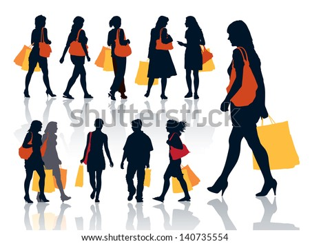 Collection of nice silhouettes of shopping people  - stock vector