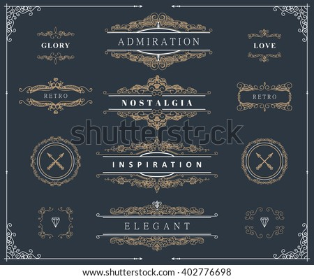 Collection of nice vintage patterns. Flourishes calligraphic ornaments and frames. Retro style of design elements, postcard, banners, dividers, logos. Vector template - stock vector
