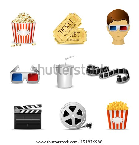 Collection of nine cinema icons isolated on white background, illustration. - stock vector