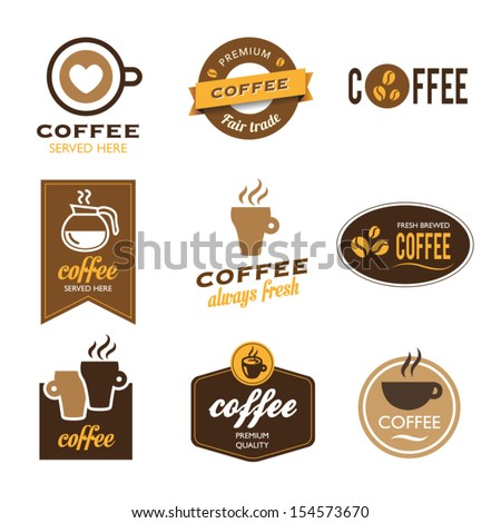 Collection of nine coffee labels - icons - stock vector