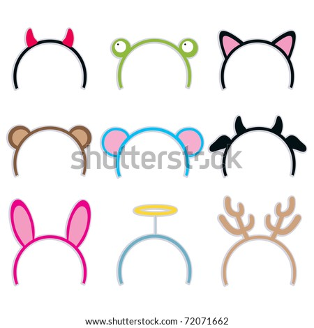 Collection of nine cute and sweet costume headbands for carnival - stock vector