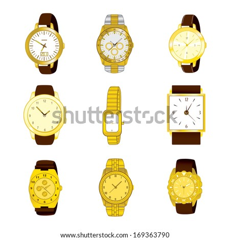 Collection of nine different golden watches isolated on white background - stock vector