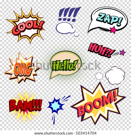 Collection of nine multicolored comic sound Effects a transparent background  in pop art vector style. Sound bubble speech with word and comic cartoon expression sounds illustration