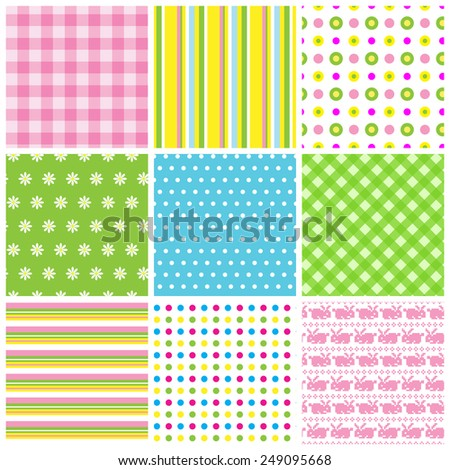 Collection of nine multicolored easter seamless patterns - stock vector