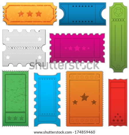 Collection of nine vintage tickets. Each ticket is grouped and layered separately. Easy to edit. - stock vector