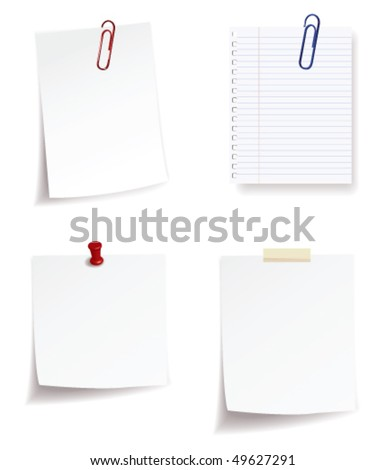 collection of note paper - stock vector