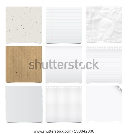 Collection of note papers background ,Illustration - stock vector