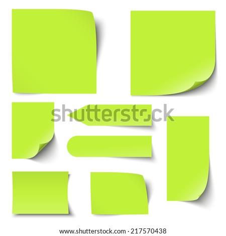 Collection of notes / memos blank - stock vector