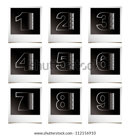Collection of numbers with instant photos and shadow