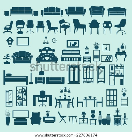Collection of  of Interior  design elements  Furniture in flat style -illustration