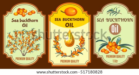 Collection of oil sea buckthorn labels, badges, sticker and icons