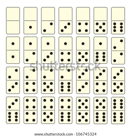 Collection of old fashioned domino set with black spots - stock vector