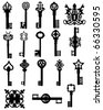 Collection of old keys - stock vector